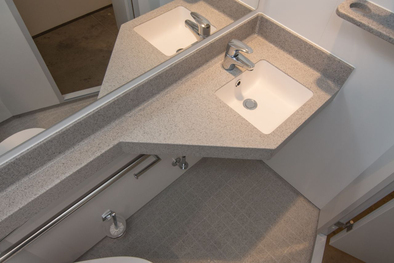 Solid surface floor and wash basin